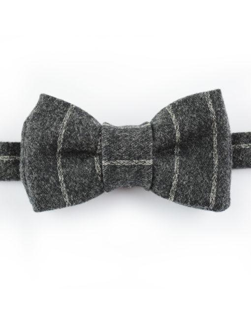 Papillon Lana grigio righe bianche - Papillon Italiano handmade - made in italy - moda uomo - shop online - fatto a mano 008A