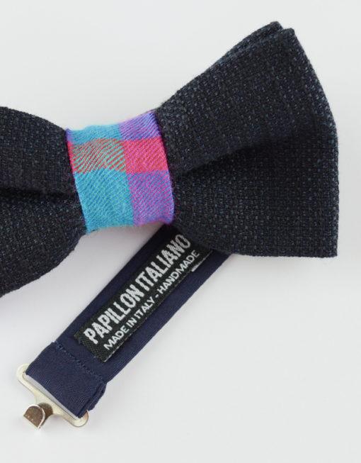 Papillon Blu con centrale colorato - Papillon Italiano handmade - made in italy - moda uomo - shop online - fatto a mano 0073