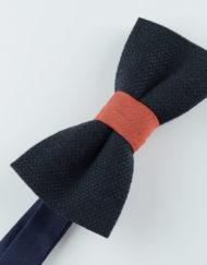 Papillon Blu con centrale corallo - Papillon Italiano handmade - made in italy - moda uomo - shop online - fatto a mano 0079