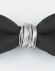 Papillon Nero con inserto in Alluminio - Papillon Italiano handmade - made in italy - moda uomo - shop online - fatto a mano 0070