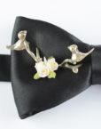 Papillon Nero con Uccelli in Argento e Ceramica - Papillon Italiano handmade - made in italy - moda uomo - shop online - fatto a mano - accessorio uomo - Luxury Edition - Bow Ties - 0097