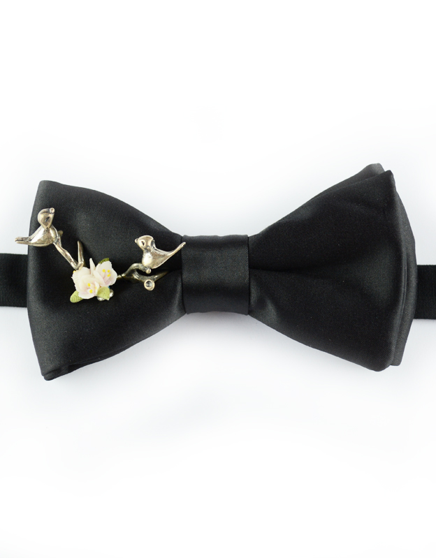 Papillon Nero con Uccelli in Argento e Ceramica - Papillon Italiano handmade - made in italy - moda uomo - shop online - fatto a mano - accessorio uomo - Luxury Edition - Bow Ties - 0097