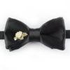 Papillon Nero con Fiori in Argento e Ceramica - Papillon Italiano handmade - made in italy - moda uomo - shop online - fatto a mano - accessorio uomo - Luxury Edition - Bow Ties - 0095