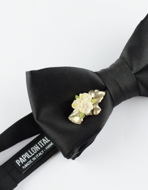 Papillon Nero con Fiori in Argento e Ceramica - Papillon Italiano handmade - made in italy - moda uomo - shop online - fatto a mano - accessorio uomo - Luxury Edition - Bow Ties - 0095