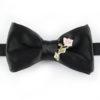 Papillon Nero con Rosa in Argento e Ceramica - Papillon Italiano handmade - made in italy - moda uomo - shop online - fatto a mano - accessorio uomo - Luxury Edition - Bow Ties - 0096